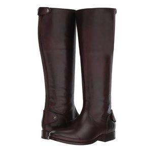 Frye Melissa Button Back Dark Brown Riding Boot
